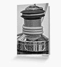 Deck Winch (Black &White) Greeting Card