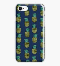 Pineapple stripes pattern by andrea lauren navy minimal fruit summer trendy print design iPhone Case/Skin