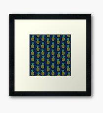 Pineapple stripes pattern by andrea lauren navy minimal fruit summer trendy print design Framed Print