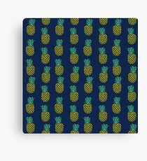 Pineapple stripes pattern by andrea lauren navy minimal fruit summer trendy print design Canvas Print
