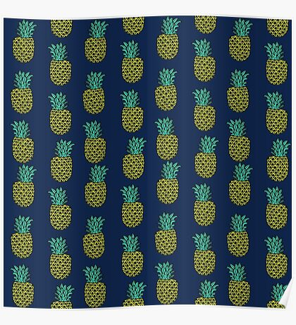 Pineapple stripes pattern by andrea lauren navy minimal fruit summer trendy print design Poster