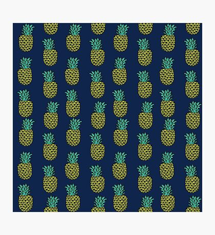 Pineapple stripes pattern by andrea lauren navy minimal fruit summer trendy print design Photographic Print