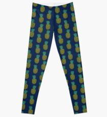 Pineapple stripes pattern by andrea lauren navy minimal fruit summer trendy print design Leggings