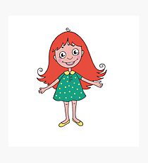 Funny cute girl in cartoon style Photographic Print