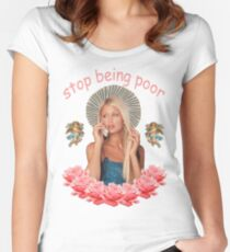 Paris Hilton 'Stop Being Poor' Women's Fitted Scoop T-Shirt