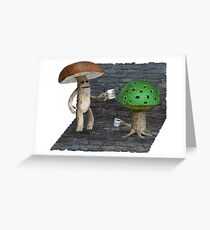 Shrieker and Myconid having coffee Greeting Card
