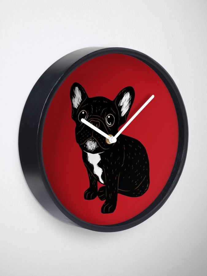 Alternate view of Cute Brindle Frenchie Puppy Clock