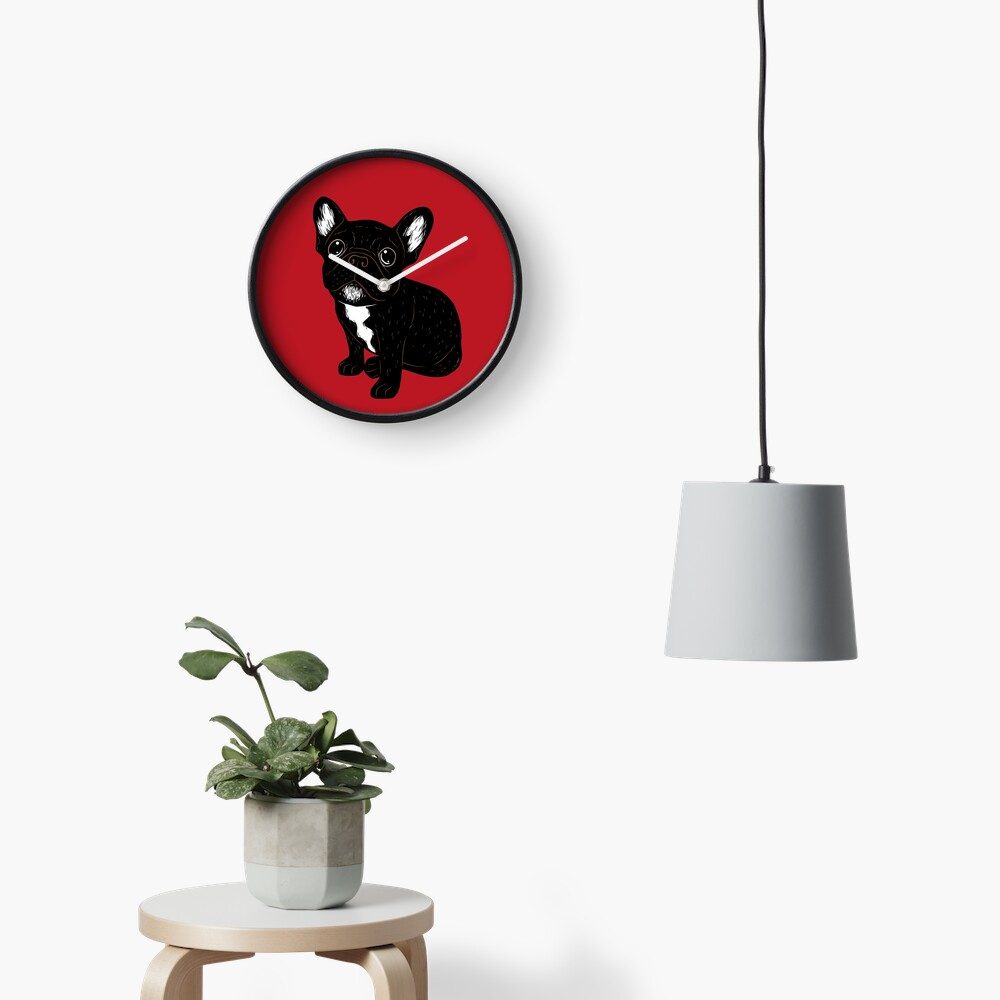 Cute Brindle Frenchie Puppy Clock