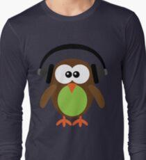 Cute Owl with Headphones Long Sleeve T-Shirt
