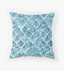 NAVY LIKE A MERMAID Fish Scales Watercolor Throw Pillow