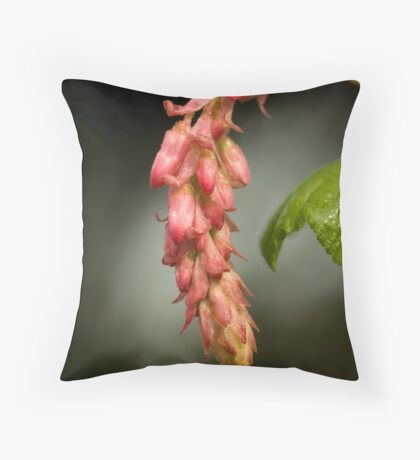 Pink Flowering Currant Throw Pillow