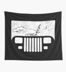 (White) Adventuring YJ Jeep Wall Tapestry