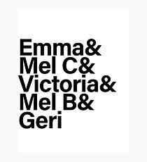 Spice Girls Names Tee (Black) Photographic Print