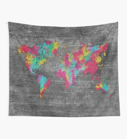 world map 81 dark color Wall Tapestry
