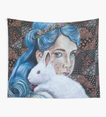 White Rabbit Floral  Wall Tapestry