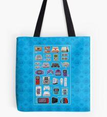 Blue Pixel Art Consoles Tote Bag