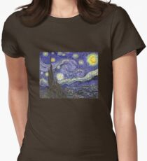 'Starry Night' by Vincent Van Gogh (Reproduction) Womens Fitted T-Shirt