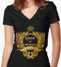 Queen of Absolutely Everything Gold Baroque Women's Fitted V-Neck T-Shirt
