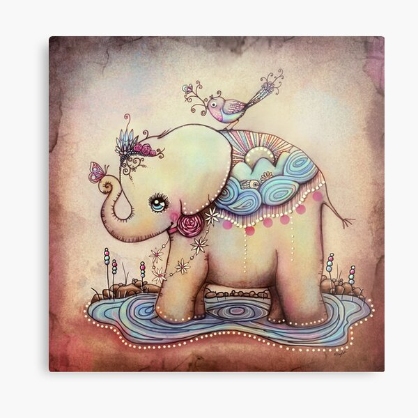 Little Diana the Vintage Elephant Princess Metal Print