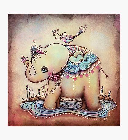 Little Diana the Vintage Elephant Princess Photographic Print