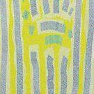Yellow and Blue Dotty Design by Betty Mackey