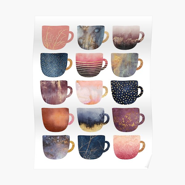 Pretty Coffee Cups 2 Poster