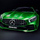 Stylized illustration 2017 Mercedes AMG GT R Coupe sports car art print by ArtNudePhotos