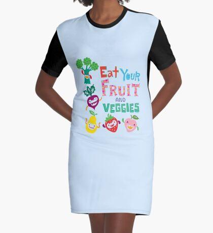 Eat Your Fruit & Veggies  Graphic T-Shirt Dress