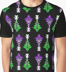 Abstract Totem Pole Pattern (Purple & Green) Graphic T-Shirt