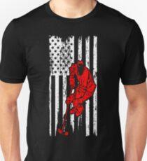 Hockey Player Sports USA Flag Pride Tshirt T-Shirt  Unisex T-Shirt
