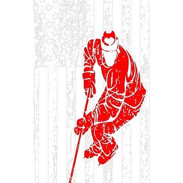 Hockey Player Sports USA Flag Pride Tshirt T-Shirt  by JohnSpillma