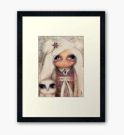 cameo girl and owl companion Framed Print