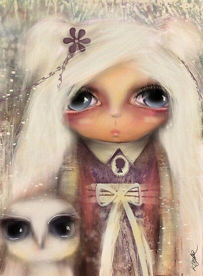 cameo girl and owl companion by © Karin Taylor