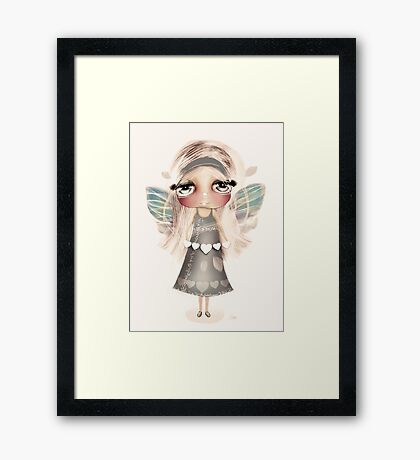 vintage hearts and wings Framed Print