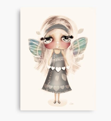 vintage hearts and wings Canvas Print