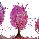 Watercolour painting three oval pink trees by Laura Wilson