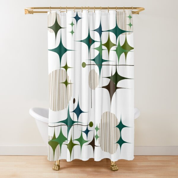Eames Era Starbursts and Globes Shower Curtain