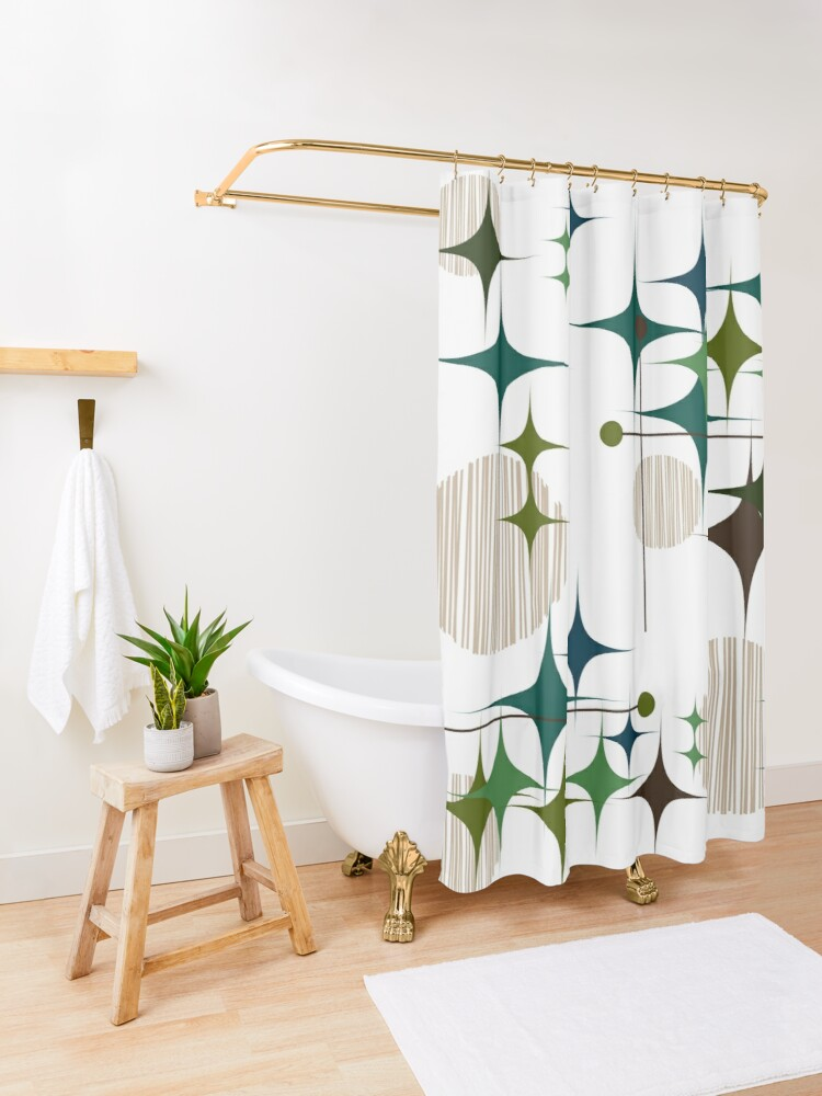 Alternate view of Eames Era Starbursts and Globes Shower Curtain
