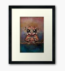 little rainbow flower owl Framed Print