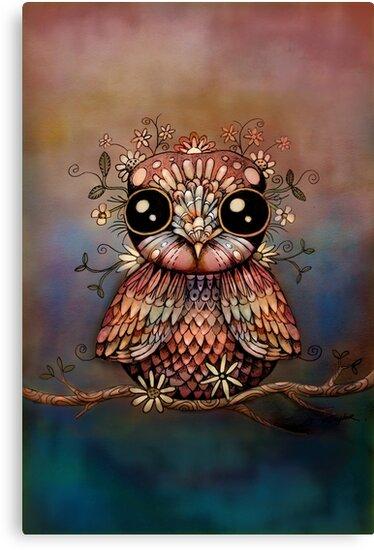 little rainbow flower owl by © Karin Taylor