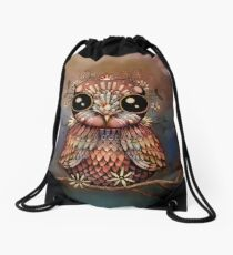 little rainbow flower owl Drawstring Bag