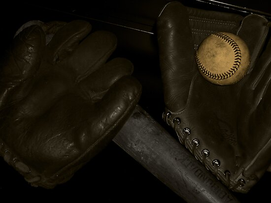 Vintage Baseball Mitts by Samuel Pevehouse