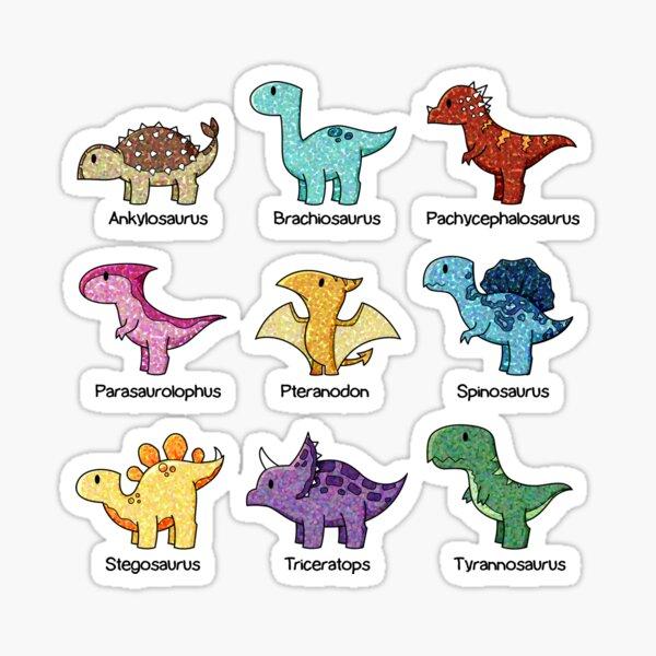 carte bien organisée des dinosaures communs. Inspiré par un cours de paléontologie de 4 mois. Sticker