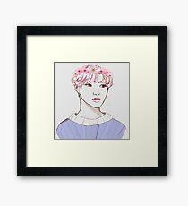 Flower crown Jimin Framed Print