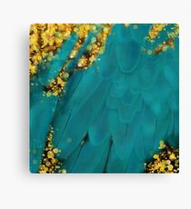 Teal blue-green feather Fantasy art, gold sparkles Canvas Print