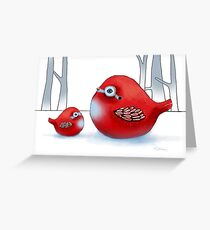 Kleine rote Robins Grußkarte
