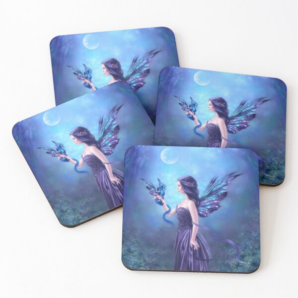 Iridescent Fairy & Dragon Coasters (Set of 4)