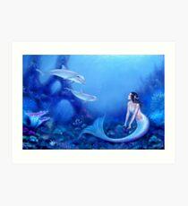 Ultramarine Mermaid & Dolphins Art Print