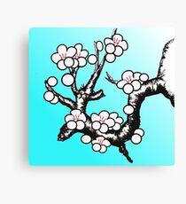 White Sakura Cherry Blossom Vector Design Canvas Print