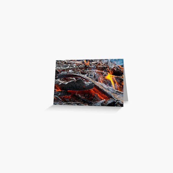 Fire Red Coals Greeting Card